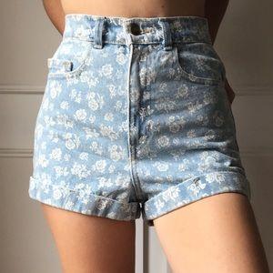 NWOT American Apparel floral jean shorts